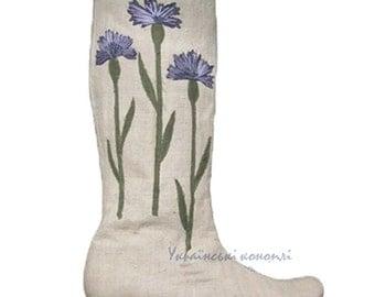 """Hemp Boots for women """"Bouquet of cornflowers."""" Organic boots"""