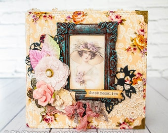 "Vintage scrapbook album 7x7 inch ""These Memories"""