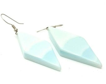 Light Blue Diamond Shaped Losange Earrings Vintage from the 90s Blue Gradient