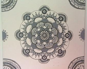 Grey & Black Mandala Painting
