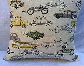 Vintage Cars & Trucks Pillow Cover 14x14