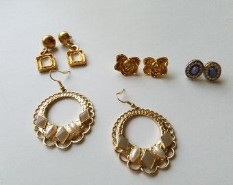 Pretty and Feminine Costume Jewelry - Large Stud Earrings, Hoop Earrings & Drop Earrings-Retro 1960's-70's Chic Classics for Pierced Ears