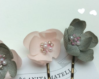Set of 5 small silk flower