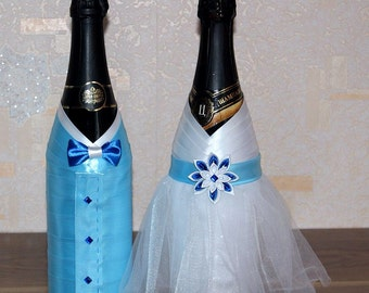 Decor for wedding champagne. Wedding Champagne Decoration Bride Groom in white and blue , Wedding champagne, Wedding Bottle Decorations