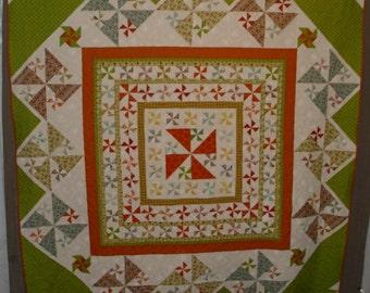 """Joggling Pinwheels Quilt 92""""x93"""""""