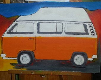 T3 Bulli with high roof acrylic on canvas