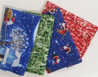 Christmas cotton fabric fat quarters set of 4