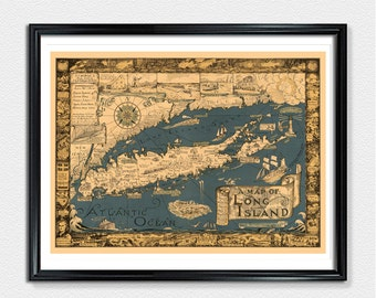 Long Island Map, Map Prints, Long Island poster print, vintage map prints, old maps, wall map