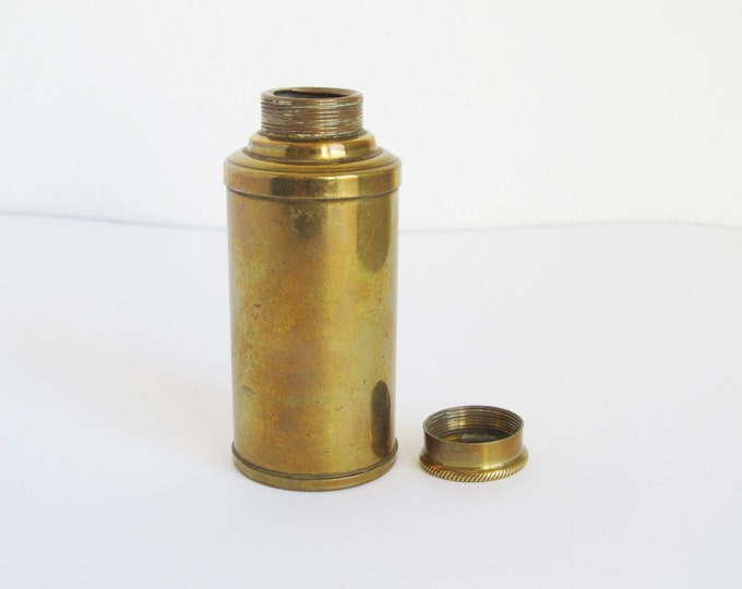 Brass travel pot, shell casing lidded pot with screw top, brass storage jar, small portable container, pill box