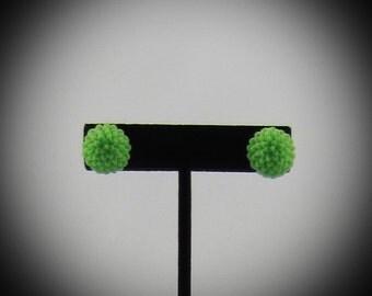 Green Chrysanthemum Resin Earrings