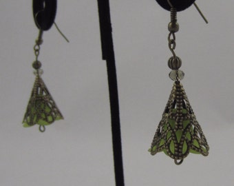 Green Cone Flower Dangling Earrings