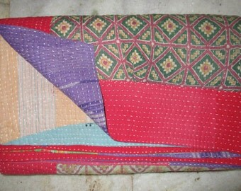Vintage Decorative Bordered Heavy Kantha Quilt, Exclusive Handmade Cotton Blanket Traditional Indian Gudri, Bedspread, Throw, Free Shipping