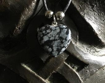 Snowflake Obsidian heart pendant
