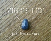 Blue Jade Necklace - Sapphire, Jade Necklace, Faceted Teardrop, Floating Gemstone Necklace, Simple Necklace, Dainty Necklace, Barely There