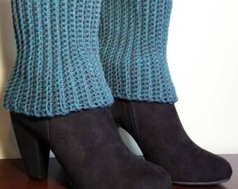 crochet boot cuffs  - boot cuffs - teal crochet boot cuffs- boot toppers - women's boot cuffs - teal boot cuffs - ready to ship