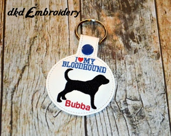 I Love My Bloodhound Personalized Key Chain - Vinyl keychain snap key fob - Dog Owner Key Chain