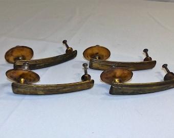 Set of 4 Vintage Brass and Celluloid Dresser Drawer Pull Handles