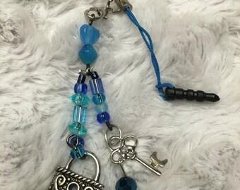Key and lock phone charm/ dust plug