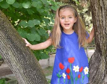 Flower dress – all year time applique dress - Girls handmade dress, felt flowers dress – girl's dress or toddler dress  - Spring dress
