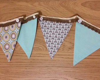 Embellished Fabric Bunting - 10 flags