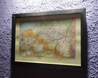 Old map of Belgium (1949) - original vintage of the Belgium in color dating back to 1949 map (21cm x 29, 7cm)-sold box