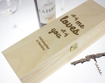 Personalised Wine Box – Engraved with Names - I Love You – Wooden Box