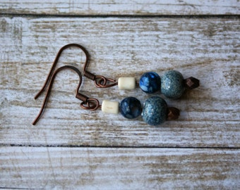 Blue Beaded Earrings, Copper Beaded Earrings, Blue Drop Earrings, Copper Drop Earrings, Boho Beaded Earrings, Ivory Earrings, Rustic Earring