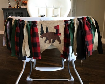 Camping High Chair Birthday Banner