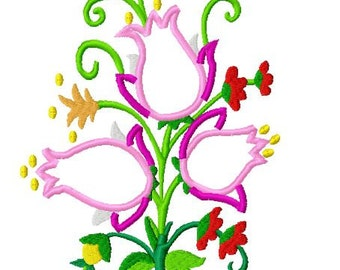 Applique Jacobean Flower Machine Embroidery Design Pack, 5x7 Hoop, 8 Formats