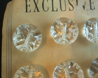 """12 Vintage Glass buttons : 3/4"""" (18 mm) glass buttons on original card optical quality dome tops"""