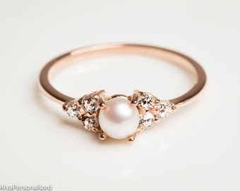14k rose gold engagement ring pearl engagement ring diamond engagement ring dainty ring - Wedding And Engagement Rings