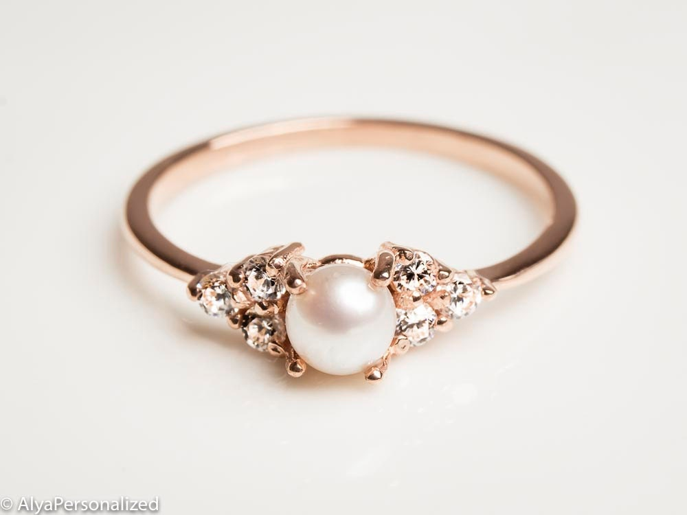White Pearl Engagement Rings