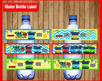 Tayo the Little Bus Water Bottle Label instant download, Printable Tayo the Little Bus party Water Bottle Label, Little Bus Water Bottle
