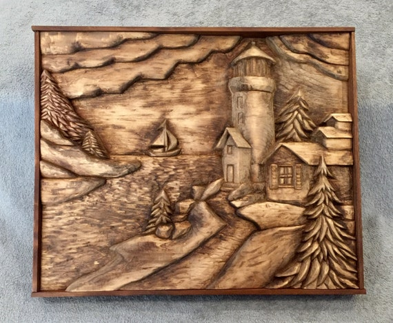 Items similar to lighthouse wood carving relief original and hand carved no