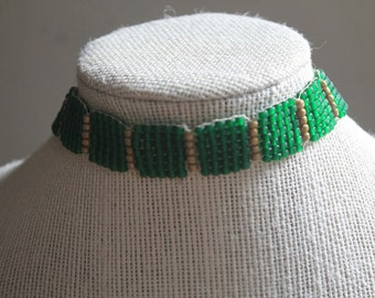 Tilaari- green and gold choker necklace with Tibetan coral, copper, and turqouise beads