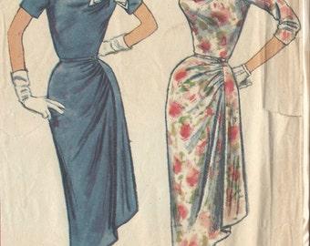1957 Vintage Sewing Pattern B36 DRESS (R911)  Simplicity 1960