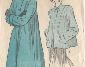 "1940s Vintage Sewing Pattern B32"" COAT (59) Advance 4828"
