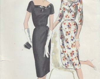 "1959 Vintage VOGUE Sewing Pattern B32"" DRESS (192)  Vogue 9835"