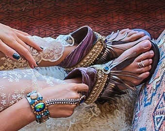 Boho Luxury Style MiPURPURA Sandals % 100 Leather and Handmade bohemian gypsy embellished ethnic best seller festival unique shoe honeymoon