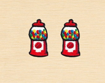 Set of 2 pcs Mini Gumball Gum Ball Machine Embroidered Iron On Patches Sew On Appliques