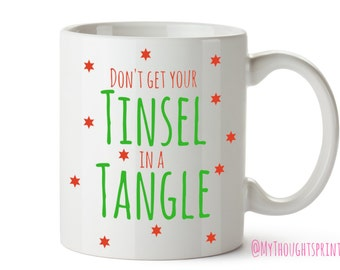 Tinsel Mug, Christmas gift, Christmas Mug, Xmas mug, Gift for Her, Xmas Decorations, Christmas Decorations, Gift for Friend,