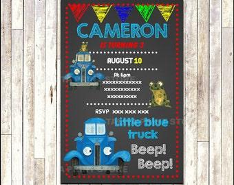 Little Blue Truck Chalkboard Invitation, printable Little Blue Truck party Invitation, Chalkboard Little Blue Truck Invitation -Digital File