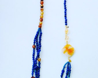 Necklace with semiprecious stones