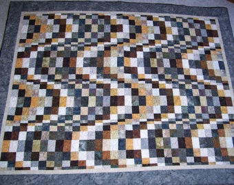 Dark Waves Quilt, bargello, couch quilt lap quilt fathers day gift masculine, sofa quilt fathers day gift handmade free shipping