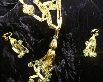 Vintage Chandelier style necklace and earring set