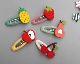 Handmade Felt Fruits Hair Clip, Snap Clip,Cute Hair clips, Fruits Hair Clips, Hair Accessoies, Hair Pin for baby kids girls, Felt Hairclips