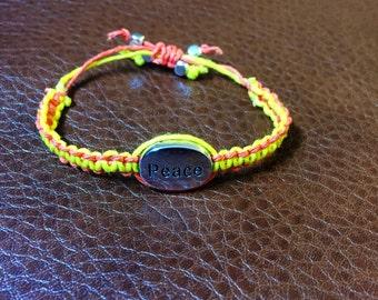 Yellow and Orange Peace Childs Bracelet