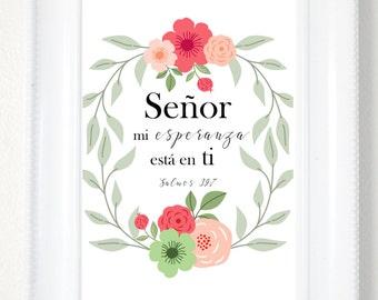 Psalms 39:7 Spanish Bible Verse, Spanish Quote, Spanish Prints, Spanish Printable Quotes, Wall Art, Psalms