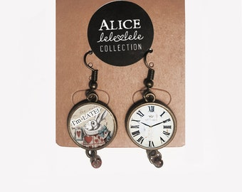 Earrings with White Rabbit pendant  - Alice in Wonderland Collection