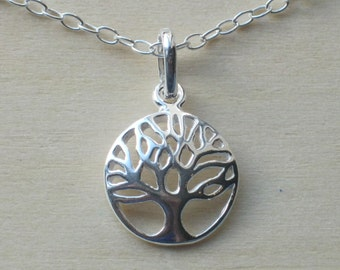 "925 Sterling Silver Tree of Life Round Domed Pendant Necklace on 16"" 17"" 18"" 19"" 20"" or 22"" Trace Chain"